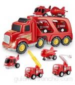 Coches de Juguete Set para Niños - Camión de Bomberos Juguete Coche Vehiculo con Luz y Sonidos Juguetes Niños Educativos de 3 4 5 6 Años para Cumpleaños Navidad Fiestas Escuelas
