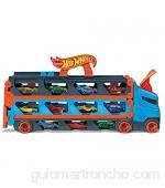 Hot Wheels Camión de transporte convertible en pista para coches de juguete almacena 20 vehículos incluye 3 die-casts (Mattel GVG37)