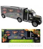 m zimoon Juguete de Camión de Dinosaurio Dinosaurios Juguetes Camión Transportador con 6 Mini Dinosaurios Educativo Juguete para Niños Niñas