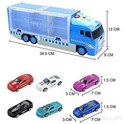 Symiu Coches de JuguetesCamiones Grandes de Juguete 6 Piezas Coches con Camión Juguete de Transportador con Música Luz Juegos Regalos para Niños Niñas 3 4 5 6 Años