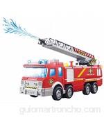 ToyZe® Camión de Bomberos de Juguete con Bomba de Agua y Escalera Extendible con Luces intermitentes y Sirenas Bump & Go Action con Pilas