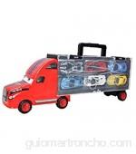 ZYCX123 El Transporte de Coches Camión transportador de catapulta Batalla camión contenedor de Almacenamiento portátil Caja con 6 Modelos de aleación de Coche para niños y niñas