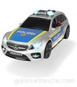 Dickie Toys 203716018 Mercedes AMG E43 - Coche policía Motor policía Motor Coche de Juguete Apertura Mediante botón con Efecto de Sonido Incluye Pilas 30 cm Color Plateado y Azul