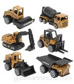 Juguete Modelo de camión de ingeniería de 6 Piezas aleación Juguete de construcción de Alta simulación Mini Juego de Juguetes de Coche de ingeniería para niños niñas(Aleación)
