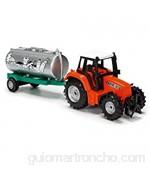Dickie Toys 203733001 Farm Life Team - Tractor con Remolque Juguete de Granja Tractor de Juegos con depósito Remolque para Caballos o heno 3 Modelos Diferentes 18 cm a Partir de 3 años