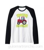Divertido Tractor Co Pilot Farm Truck Niño Camiseta Manga Raglan