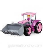 Lena TRUXX 04452 - Tractor Delantero con Pala Excavadora (34 cm Juguete para niñas a Partir de 2 años Color Rosa y Lila
