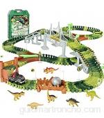 Circuito Pista Coches de Dinosaurios Juguetes-Pistas de Circuito Coches Cumpleaños Cars Juguetes Regalos Para Niños 3 4 5 6 Años Pista Circuito Coches con 6 Dinosaurios 1 Dinosaurio Coche(216 Piezas)