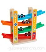 Tomaibaby Juguetes de Pista de Carreras para Niños Juguetes de Rampa de Coche de Madera Zig Zag Juegos de Diapositivas de Coche Juguetes de Madera para Niños Pequeños