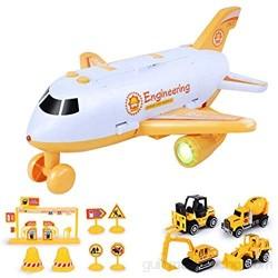 Raspbery Juego de Juguete para Coche de construcción con avión de Transporte avión de Carga para Transporte Juego de Juguete para Coche vehículo Educativo avión Coche para niños y niñas de benchmark