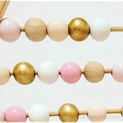 Ábaco Cuentas de madera Abacus niños bebé contando juguetes educativos de aprendizaje temprano artesanía pinkgold