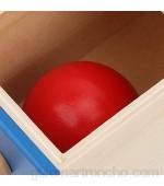 Caja Imbucare Caja de Bolas de Madera para bebés Caja de Bolas de Madera para Monedas niños y niñas Juguetes para niños pequeños niñas(Round Rectangular Drawer Blue)