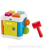 Chicco Multicubo Encajable 2en1 - Juegos de Puzzle encajables y contrucción para bebés con Formas Bolas y Martillo