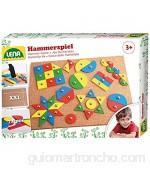 Lena estándar uñas con 72 Piezas de Colores en 9 Formas Multicolor Base de Corcho Aprox. 28 x 19 5 cm Clavos niños a Partir de 3 años Juego de Martillo (SiMM Spielwaren GmbH 65827)
