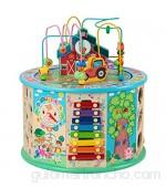 Dfghbn Cubo De Actividad Forma de Madera Sorter Activity Cube Juguetes para 1 año de Edad Bebé Cuentas educativas Maze para niña y niño 12 Meses más Un Gran Juguete Educativo