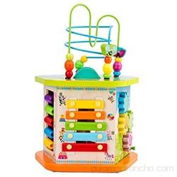 Feixunfan Cubo de Actividad de Madera Actividad Cubo Juguetes de Madera para Baby-Multifuncional Forma Clasificador Bead Maze Juguetes educativos para niños Regalo para Niños Pequeños Regalos
