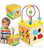 IsoTrade Dados de motricidad a partir de 1 año de madera 5 en 1 juego centro actividad con reloj regalo para niños y niñas