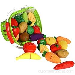 TIANLE Cesta de Frutas y Verduras - Pretender Play Food Food Playet Educativo con Cuchillo de Juguete Tabla de Cortar (32 Piezas de Frutas y Juguetes de Verduras)