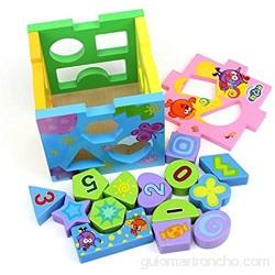 YDHG Juguetes Educativos Geométricos para Niños Juguetes educativos de Madera Actividad Cubo de Madera Forma Clasificador Puede Usar La Creatividad Y La Imaginación