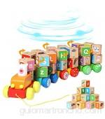 Arkmiido Trenes de Juguete de Madera para niños Juguetes educativos Juego de Bloques de Letras del Alfabeto de 26 Piezas Juguete Montessori para 3 años + (19*23*10)