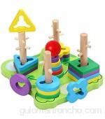 Belle Vous Juguete Educativo Madera Forma de Rana (23 Piezas) Puzzles Infantiles Madera - Apilador Geométrico para Bebés/Preescolar/Niños – Desarrollo Aprendizaje Temprano – Reconocer Colores