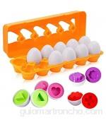 BYBOT 12 Piezas Rompecabezas de Huevos Color y Forma Juguetes Educativos Montessori Rompecabezas de Juguete Desarrollar Las Habilidades Motoras y Percepción de Niños