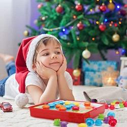 Fansteck Tablero de Mosaicos Infantiles Puzzle 3D Rompecabezas Niños de Uñas Setas Tablero de Coincidir colores con 46 botones y 12 imágenes Juguete Educativo Temprano para niños y bebés de 3+años