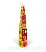 Janod - J02917 - Pirámide cuadrada de las 4 estaciones con bloques apilables juguete de manipulación para niños a partir de 1 año