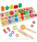 LBLA Juguetes de Madera Montessori Alimentos de Juguete para Niños Cortar Rompecabezas de Números de Madera Juguetes de Rompecabezas de Matemáticas