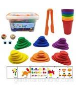 Poxcap 94pcs Rainbow Pebbles Toys Clasificación de piedras de apilamiento Conjunto de actividades Juguete sensorial para niños Kit de aprendizaje temprano de matemáticas para preescolares