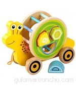 JOKFEICE Juguetes de Arrastre para niños pequeños Juguetes de Arrastre de Madera Caracol Forma geométrica de Madera para niña Niño de 1 año Juguete de Aprendizaje para bebés