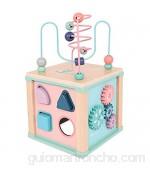 Cubo De Actividad Actividad de madera CUBE 6 en 1 Centro de actividades Multifunción Bead Maze Laberinto Rodillo Rodillo Rodillo Preescolar Ejecutivo Educativo Toys Regalo para niños Niños Niños Niñas