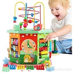 Cubo de Actividad de Madera Actividad de Madera Cube Bead Maze Aprendizaje Juguetes educativos Centro de Actividades para niños pequeños Bebés Niños Niños Niñas (Cube Bead Maze) para Niños Pequeños