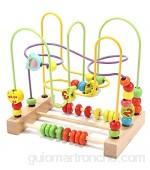 Jacootoys Frutas Laberintos de Abalorios Madera Cuentas Motricidad Fina Abaco Juegos Cube Educativos Juguetes para Niños 3 4 5 Años