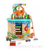 Juguete de Pistas de Tren Actividad de madera Cube Way Bead Maze Roller Coaster Sensory Baby Juguete Con ABACUS Reloj Forma Clasificador y Slider Multifunción Cuadro de juego educativo de 2 años Regal