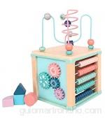 Juguete multifuncional de montaña rusa con laberinto de cuentas para bebés juguete educativo interactivo de cubo de actividad de madera caja de juegos educativos para niños centro de actividades pa