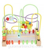 Madera Bead Maze Activity Cube Frutas Slide Abacus Toddler Roller Coaster Juguete educativo L Aprox. 22 x 20 5 cm/8 7 x 8 1 pulgadas