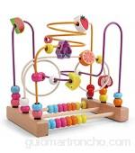 Max-Tonsen Juguetes para bebés niñas Juguete de Laberinto de Cuentas para niños pequeños de Madera Colorida montaña Rusa círculo Educativo Juguete-B