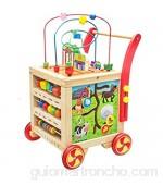 SuDeLLong Actividad de Madera Cubo Juguetes con Bead Maze BAB Shape Sorter Abacus Bebé Push Push and Pull Learning Walker Juguetes educativos para Baby Kid Gifts Laberinto de Cuentas extraíble