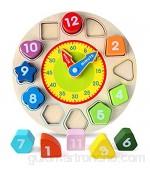 BelleStyle Juguetes de Reloj Madera Juguete de Reloj de Madera Educativo Juguetes Montessori Educativo Rompecabezas Tablero Juegos Educativos Relojes de Aprendizaje para Niños 1 2 3 4 5 Años
