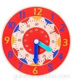 Heshan Reloj de madera de color para niños juguete horas minutos segundos herramienta de enseñanza cognitiva