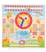 Hztyyier Reloj de Madera para niños Juguete de Madera Educativo para bebés Niños Niños Fecha Calendario Preescolar Aprendizaje de Accesorios Regalo para niñas de niños pequeños