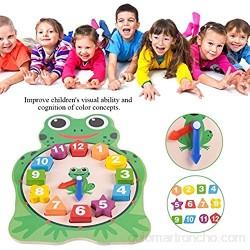Reloj de forma de madera reloj de rana búho de dibujos animados lindo juego de aprendizaje de rompecabezas digital de tiempo juguete educativo de la primera infancia (Frog)
