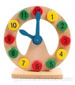 Yuffoo Reloj despertador retro juguetes de madera para niños aprenden a decir tiempo reloj digital de madera ayuda de aprendizaje temprano niños bebé aprendizaje temprano juguetes