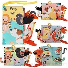 BeebeeRun Libros de Tela para Bebé Animales Activity Libros Blandos Aprendizaje y Educativo Juguete para Bebé Recién Nacido Niños(1 Pieza)