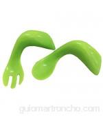 lujiaoshout para bebés niños Los niños azada codo cuchara tenedor de entrenamiento 1 traje verde