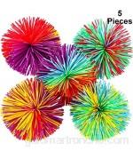Bola de Antiestrés Bola Que Rebota Pom de Arcoiris Suave Bolas de Hilos de Inquietud Sensorial Multicolor (5 Piezas)