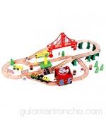 Juego de ferrocarril de madera grande con estación de ferrocarril grúa puente rieles juego de madera