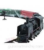 Set de iniciacion para maquetas de trenes - Locomotora para modelismo ferroviario - Locomotoras a vapor con vagones - 25 partes - Sonido luz y humo