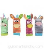 Calcetines de sonajero para bebé de 4 piezas calcetines de buscador de pie de bebé de animales bonitos juguetes de sonajero para Baby Shower regalos para recién nacidos(deer)